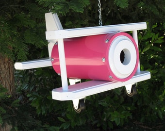Bi-Plane Birdhouse - Pink and White
