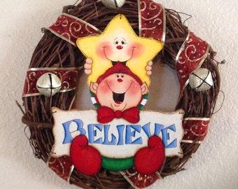 """Adorable Elf """"Believe"""" wreath"""