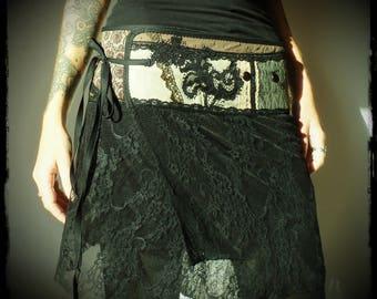 Embroidered short skirt, wrap skirt, patchwork skirt, mini skirt, skirt, faerie, made hand