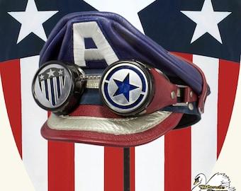 SALE! Vintage Captain America Inspired Crush Cap & Goggles