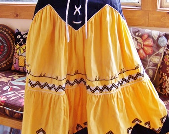 SKIRT, Paris, Embroidered, Tiered, Yellow, Cotton, French, Folk, XS