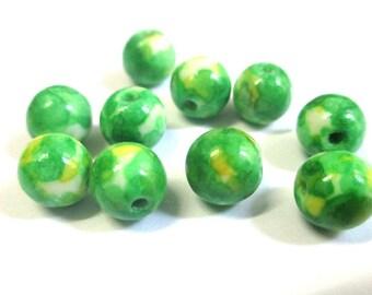 10 yellow and green 8mm natural ocean jade beads