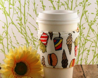 Fabric Coffee Cozy / Fast Food Coffee Cozy / Food Coffee Cozy / Coffee Cozy / Tea Cozy