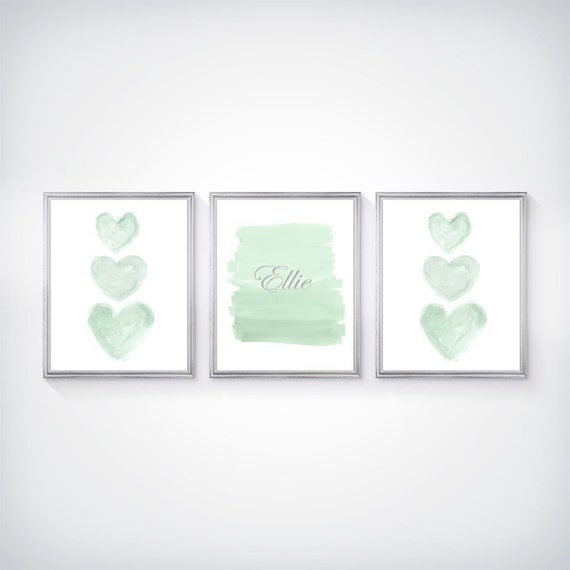 Mint and Silver Nursery Prints, Set of 3- 8x10 Personalized
