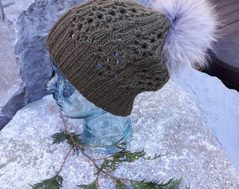 100% Wool Ladies Olive Lacy Hand Knit Unique One-of-a-Kind Hat