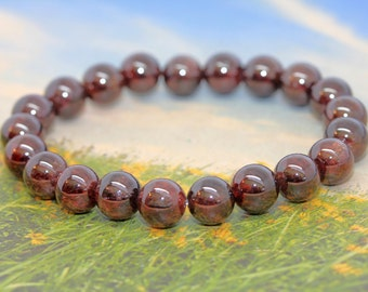 Healing Garnet Gemstone Bracelet - Natural Garnet Gemstone Bracelet, Garnet Jewellery / Crystal Healing Jewellery