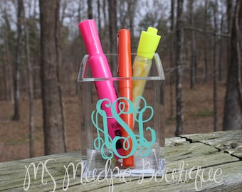 Personalized Acrylic Pen Cup, Pencil Cup, Teacher Gift, Monogram Pen Cup, Coworker Gift, Makeup Brush Holder, Desk Accessory