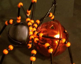 Beaded Spider- Halloween Jack O Lantern