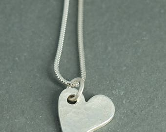 Fine Silver Hammered Heart on 18 inch Sterling Silver Chain
