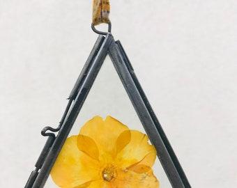 Handmade Yellow Pansy Suncatcher/ Glass Frame