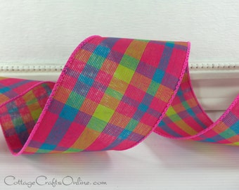 """Plaid Wired Ribbon, 2 1/2"""" Pink , Turquoise and Lime Green - THREE YARDS -  """"Miami Chic"""", Spring, Summer Tartan Craft  Wire Edged Ribbon"""