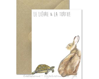 The Hare and tortoise - watercolor Illustration card