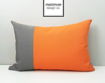 Decorative Orange & Grey Outdoor Pillow Cover, Modern Color Block Pillow Cover, Charcoal Gray and Tuscan Sunbrella Cushion Cover, Mazizmuse