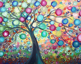 Large Painting PURE JOY Tree of Life Landscape Huge Canvas 48x30 x1.5 Ready to Hang