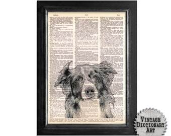 Border Collie - Dog Art Printed on Vintage Dictionary Paper - 8x10.5