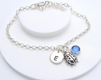 Personalised Ladybird Bracelet, birthstone and initial, gift for her, lady bug jewellery
