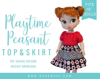 Animators Doll Clothes Sewing Pattern fits 16 inch dolls like Disney Animators. Playtime Peasant Top and Twirl Skirt PDF pattern Oh Sew Kat!