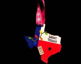 Texas Flag with Lights  2018 Christmas Ornament