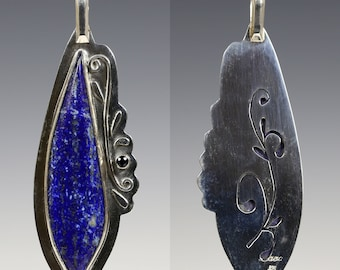Lapis Lazuli Pendant. Reversible. Sterling Silver Necklace. Blue Sapphire Accent. Genuine Gemstone. September Birthstone. s16p013