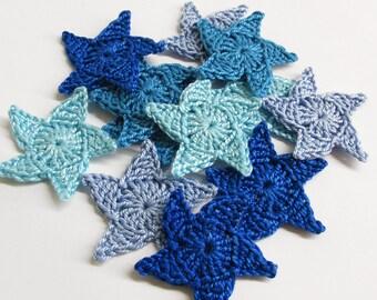 Crochet stars, 1.3 inches, blue appliques, 12 pc, sea theme ornaments
