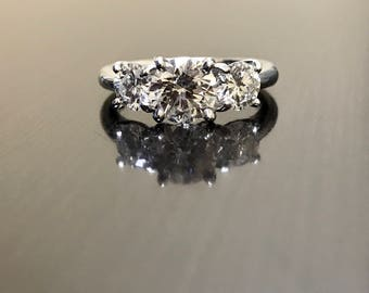 Platinum Diamond Engagement Ring - Platinum Three Stone Diamond Wedding Ring - Diamond Art Deco Platinum Ring - Platinum Deco Diamond Ring