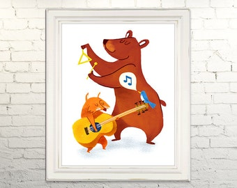 NATURE SOUNDS Printable Art print poster Instant Download Digital Animals Bear Fox Bird Band Music Guitar Children's Art Nursery Wall Decor