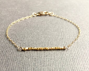 Dainty Gold Bracelet with Bar of Gold Beads, Delicate Cable Chain, Yellow Gold Filled Bracelet, Delicate Gold Anklet, Vermeil Hill Tribe