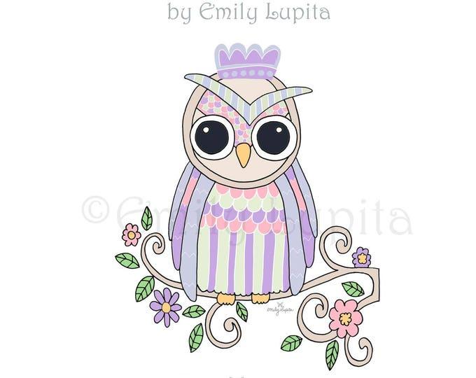 "Illustration Art Print ""Lilac Owl"" / Bird Portrait Wall Art / Nursery New Baby / Baby Shower Gift / Animal Artwork"