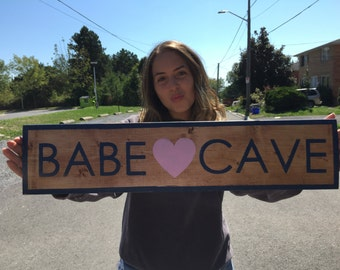 BABE CAVE | Girl Gang Sign | Cottage Sign | Hand Painted Sign | Wooden Sign | Instagram Prop