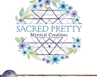 Premade logo Watercolor floral sacred geometry logo unique creative logo healing crystal meditation flower of life logo purple blue flowers