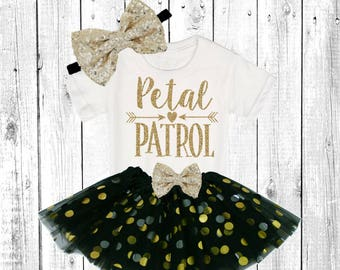 Petal Patrol. Flower Girl Shirt. Flower Girl Outfit. Flower Girl Tutu Outfit. ** In black and Gold **