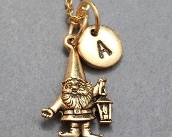 Gnome necklace, gnome charm, gardening necklace, personalized necklace, initial necklace, initial charm, monogram