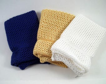 Dishcloths Knit in Cotton in Royal Blue, White and Gold/Yellow/Bright Yellow, Knit Washcloths, Cotton, Dish Cloth, Wash Cloth