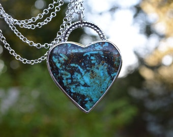 Turquoise Heart necklace, Turquoise Heart, Heart necklace, turquoise, kingman turquoise, statement necklace, OOAK Necklace, sterling silver