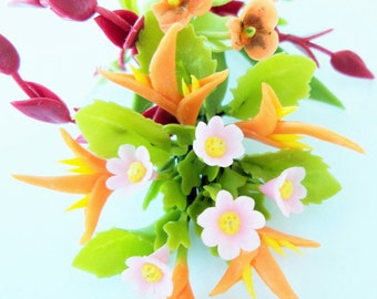 Miniature Polymer Clay Flowers Bouquet, Bird of Paradise, Supplies for Dollhouse and Handmade Gifts 1 Bunch