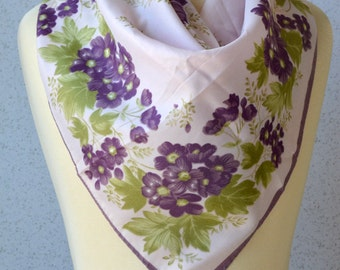 Vintage square scarf: Flowers, purple, pink, spring green, bouquet