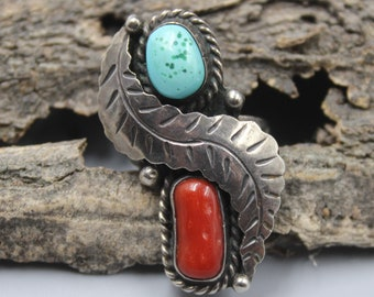 Navajo Ring Sterling Silver Coral Turquoise Size 9 Feather Native American Indian Vintage