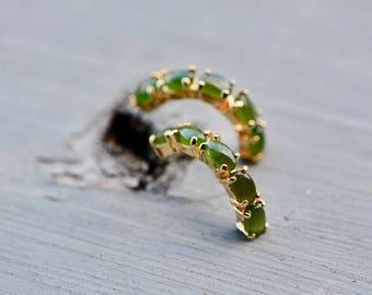 Nephrite Jade Earrings, Jade Hoops, Jade Jewellery, Gold Hoop Earrings, Green Earrings, Vintage Jewelry, Antique Jewelry, Gemstone Hoops