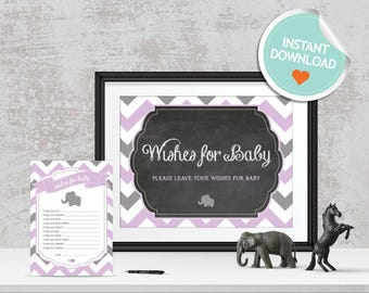 Elephant Wishes for Baby, Elephant Baby Wishes, Purple, Gray, Chevron, Chalkboard (Bubbles) | Instant Download