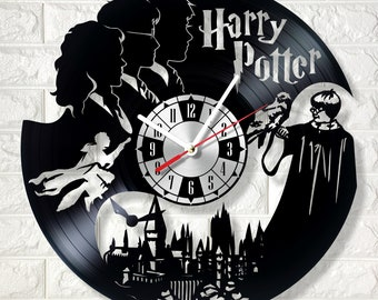 Harry Potter wall clock made out of real vinyl record wonderful gift for any occasion