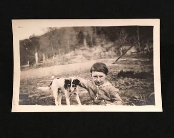 A Kid & His Pup - 1920s Snapshot Photo, Vintage Photo of a Boy and His Dog, Original Amateur Photograph