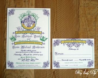 100 Mardi Gras Wedding Invitations - King & Queen New Orleans - By My Lady Dye
