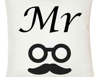 Mr - Glasses and Moustache / Funny Gift Idea / Novelty Gift / Home Decor / Soft Cushion