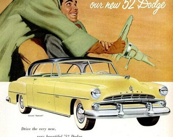 1952 Dodge Car Advertisement Vintage '52 Coronet Diplomat Ram Romantic Couple Illustration Showroom Garage Wall Art Mechanic Body Shop Decor