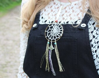 Witch Pagan Halloween Crochet Dream Catcher Handmade Lace Decorative Boho Hippy Shabby Chic Whimsical Witches hat charm