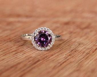 Amethyst Silver Ring, Engagement Ring, Gift for Her, Purple Ring Gift, Amethyst Solitaire, Purple Halo Ring, Purple Crystal Ring,