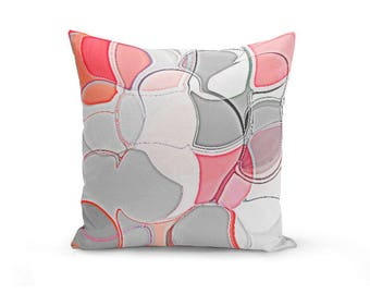 Abstract Throw Pillow Cover Abstract Coral Grey White Pink Modern Home Decor Living room bedroom accessories Cushion Decorative Pillow Cover