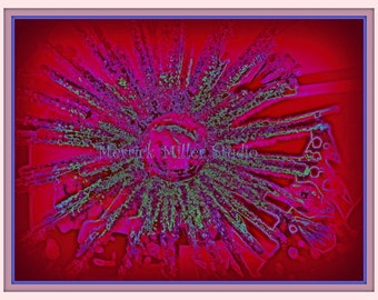 Abstract  Rich Reds Purple Silver Blue Green Shimmering Snowflake Star  Tree Holiday 11x17 print