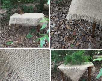 Fringed Burlap Tablecloth Custom Burlap Tablecloth Burlap Table Scarf Fringed Tablecloth Handmade Wedding Table Setting