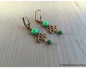 Josephine  art deco earrings with jade